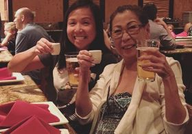 Ok more Birfday cheers. Double-fisting with mum! #lychee #sake #kirinichiban #teppanyaki [instagram]