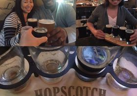 Celebratory drinks with my Kuya & Ate! I look tired. Must be past my senior citizen bedtime of 9pm  p.s., that flight of dark ales & stouts was yummy. #hopscotchfullerton #stoutlover #darkales #karlstrauss #craftbrews #theoc [instagram]