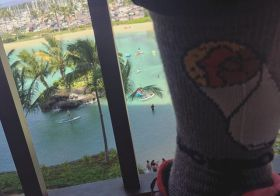 A week ago today. My burrito socks & I are sorely missing Hawai'i! #hutchsbicyclegarage #islandfever [instagram]