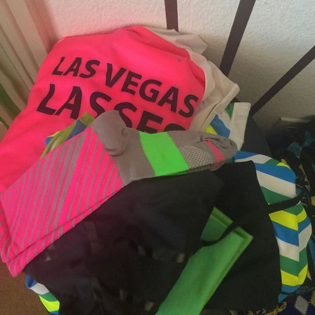 Look how neatly I prepared my bike kit last night for this morning's ride... which I missed thanks to sleeping through my alarm 🤣 #LVL #VegasLassesRide