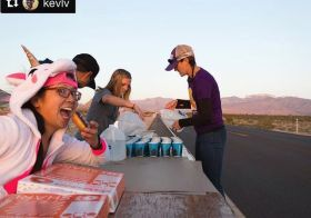 When you're volunteering at the aid station but first… DOUGHNUTS (courtesy of @vegasultrarunner)  Photo credit: @kevlvphotography [instagram]