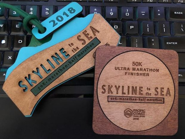 #medalMonday on another ultra. Skyline to the Sea did not disappoint with majestic views, amazing volunteers (thanks sis @runtricpa), fun climbs, and angry wasps! 🤣 Time well spent with Vegas Trail Junkies along with new friends made on the trail. Yes, wasp stings and bloat and all 🤣