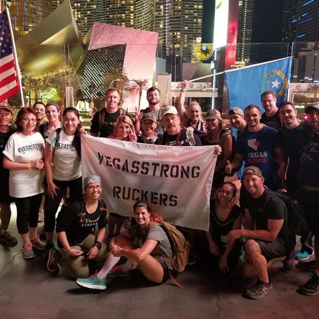 Joined the VegasStrong Ruckers on our inaugural Ruck on Monday night where we honored the victims of the 1 October Tragedy and celebrated the heroes who emerged from it. #vegasstronger Group 📸: @johnberunning Flag 📸: @nikbee702