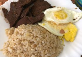 Sunday Brunch— Tapsilog! (Tapa, sinagnag, at Itlog). Marinated beef, garlic rice, fried eggs. #filipinofood [instagram]
