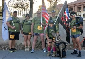 Kingston's first organized event and it was the 4.01k Race for Financial Fitness benefitting @jasouthernnv with the @vegasstrongruckers It was a great morning for a Ruck! Kingston had his own bib, finisher medal, and banana. [instagram]