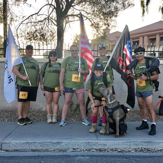 Kingston's first organized event and it was the 4.01k Race for Financial Fitness benefitting @jasouthernnv with the @vegasstrongruckers It was a great morning for a Ruck! Kingston had his own bib, finisher medal, and banana.