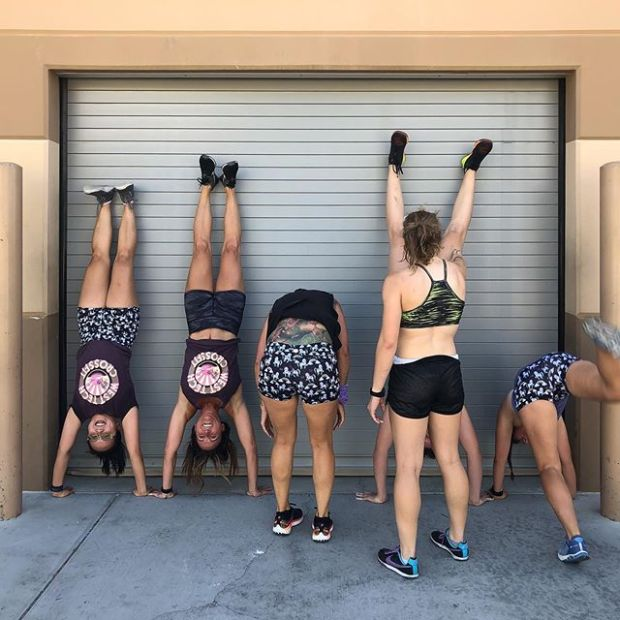 Strong women lift up each other... sometimes literally! 🏽 Always great fun working out with these (and all the) ladies at WTech CrossFit! I know what coach will say, if we have this much energy after the WODs, we didn't work hard enough during them.