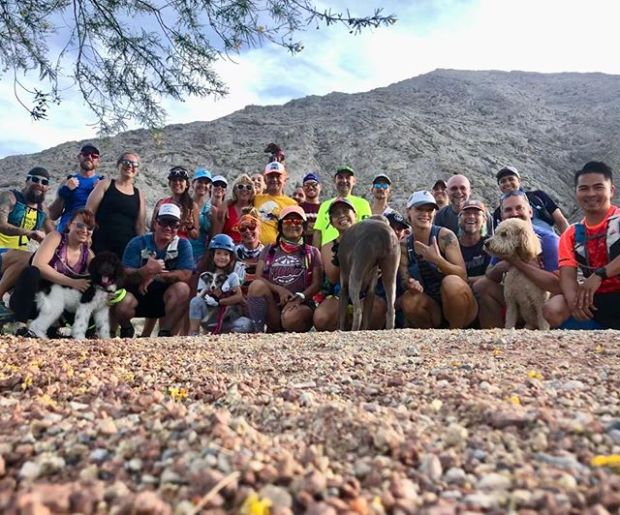 Monday night group at Lone Mountain! Kingston ran with Lily the amazing doxie most of the time & handled the 96°+ desert weather fairly well. Then he took a nap on our 3mi car ride home lol.