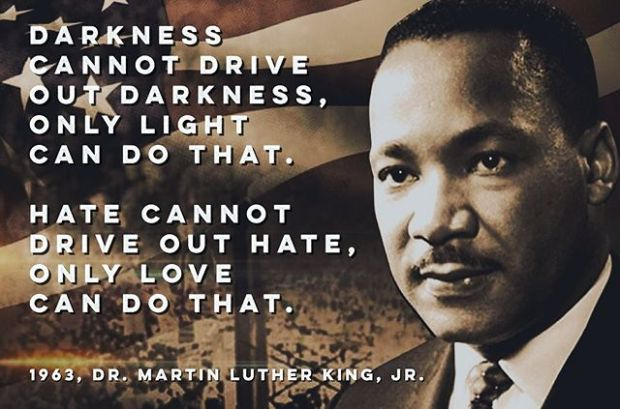 """Darkness cannot drive out darkness, only light can do that.Hate cannot drive out hate, only love can do that."" — Dr. Martin Luther King, Jr. #mlkjrday #mlkday #humanrights #civilrights #lovewins #bekind"