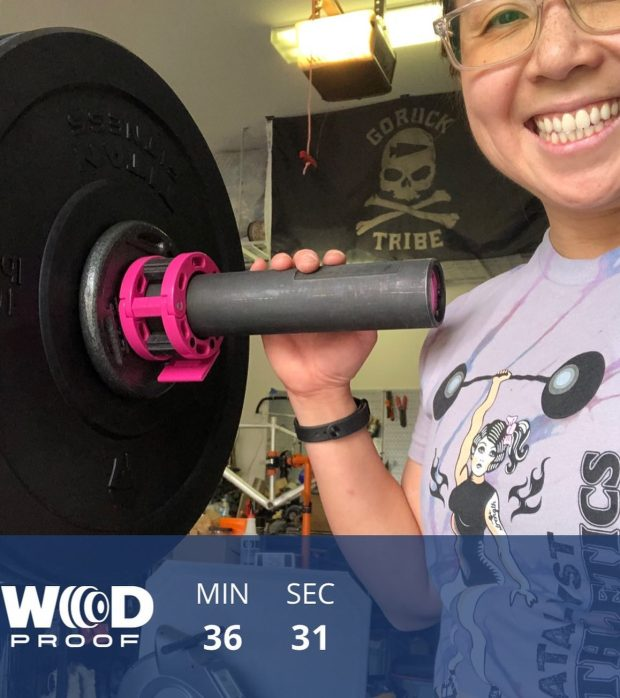 """My right arse was finally feeling normal-ish on Thursday, so I did this workout that involved this thing called a """"barbell"""" 🤪 Working (slowly) back to some weights. Also, showing off my @goruck Tribe flag!#crammingforcrossfit #frontsquats #wodproof #garagegym #baseperformance #michelobultra #teamultra #catalystathletics"""