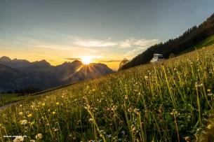 Sonnenuntergang mit Glarner Bergpanorama