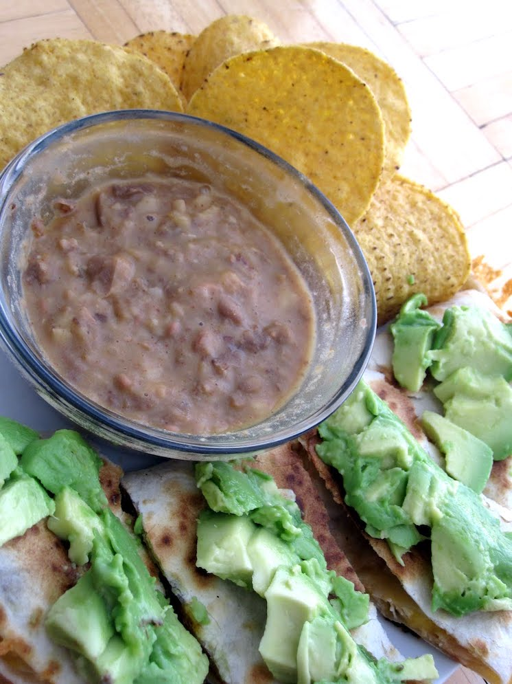 Homemade Refried Beans with Quesadillas Chips and Avocado