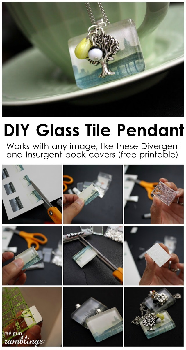 Easy glass tile pendant tutorial. Use any image or make awesome Divergent and Insurgent necklaces with the free printable.