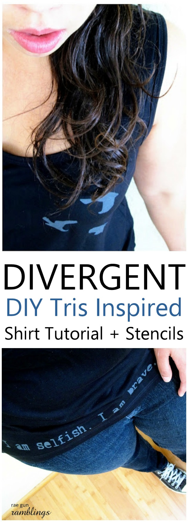 This Divergent tank is so awesome. Great DIY tutorial with stencils.
