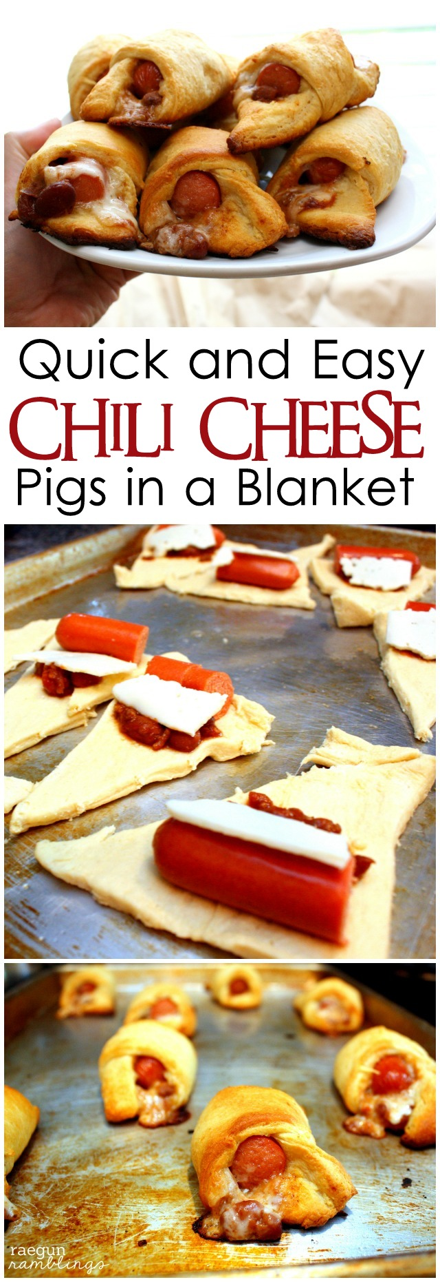 Chili Cheese Pigs in a Blanket perfect quick meals, snacks or super bowl party food - Rae Gun Ramblings