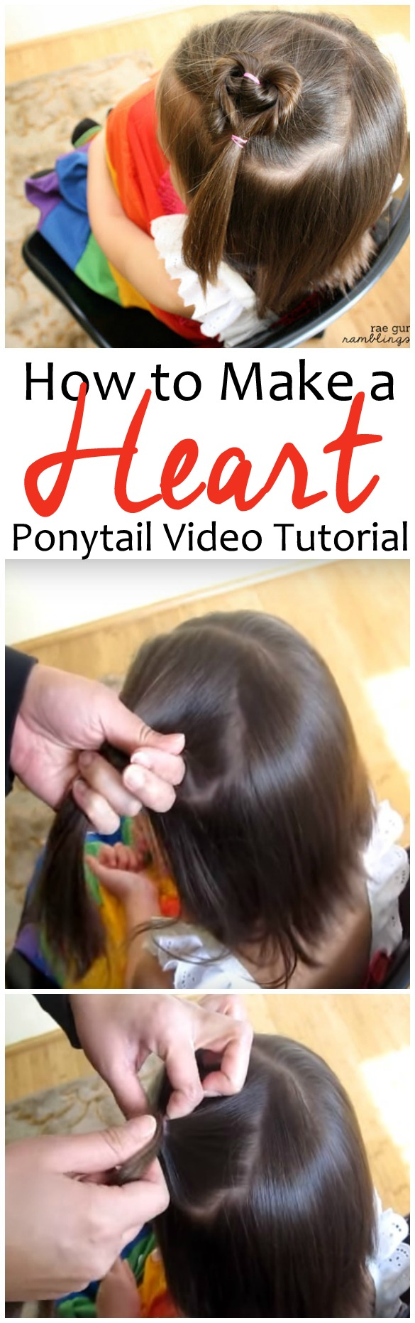 The video makes this adorable heart ponytail so easy and doable. Great hair tutorial.