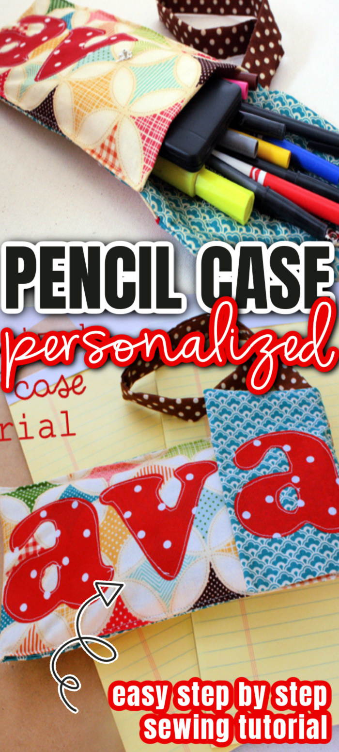 personalized pencil case sewing tutorial how to make a cute diy fabric pouch with customized name detail