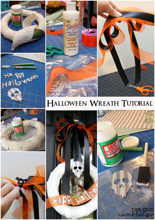 Step by step instructions on how to make a cute outdoor book page Halloween wreat - Rae Gun Ramblings