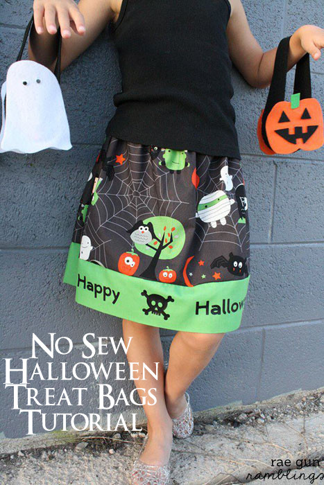 No sew halloween treat bag tutorial - Rae Gun Ramblings #spookyspaces #felt #craft