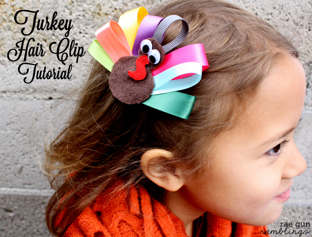 Turkey Hair Clip and Napkin Ring Tutorial at Rae Gun Ramblings #turkeytablescapes