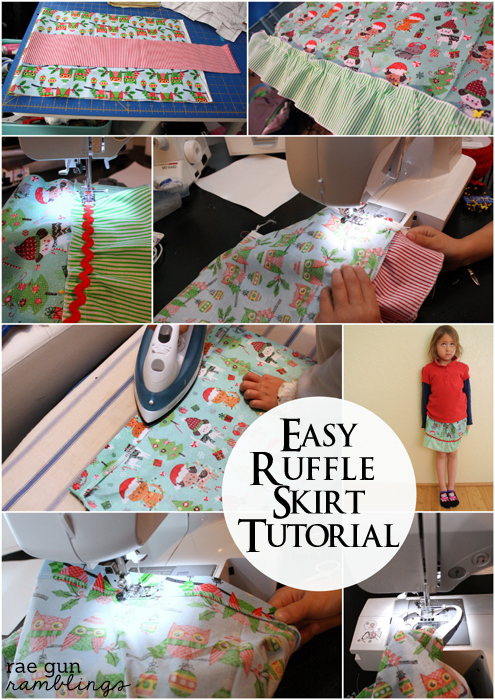 Step by step instructions to how to make a simple ruffle skirt at Rae Gun Ramblings
