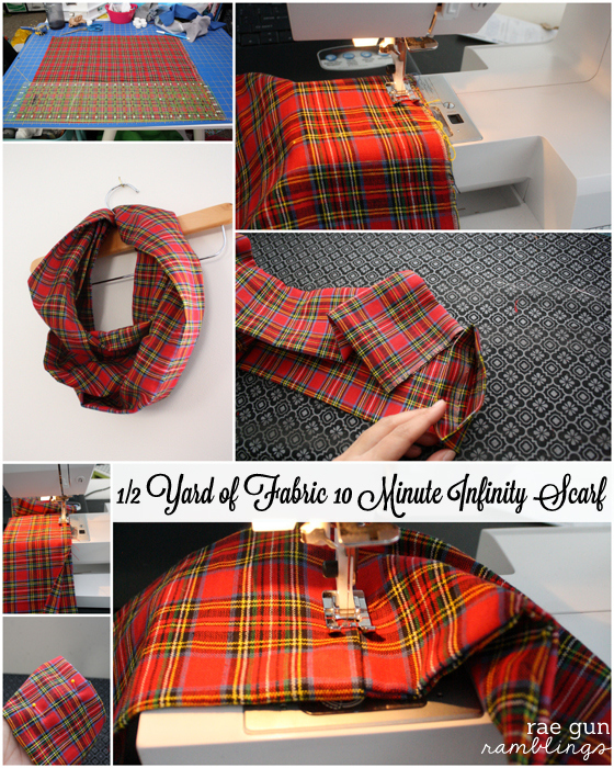 Step by step instructions for how to make an infinity scarf out of just half a yard of fabric - Rae Gun Ramblings #fabulouslyfestive