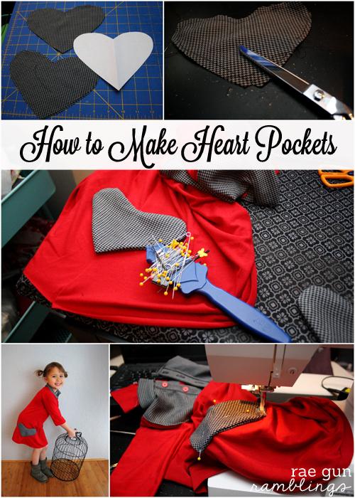How to make heart pockets sewing tutorial - Rae Gun Ramblings