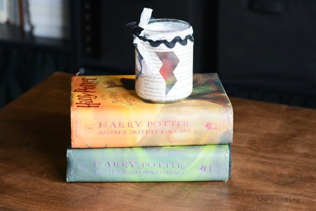 harry potter book page candy jar