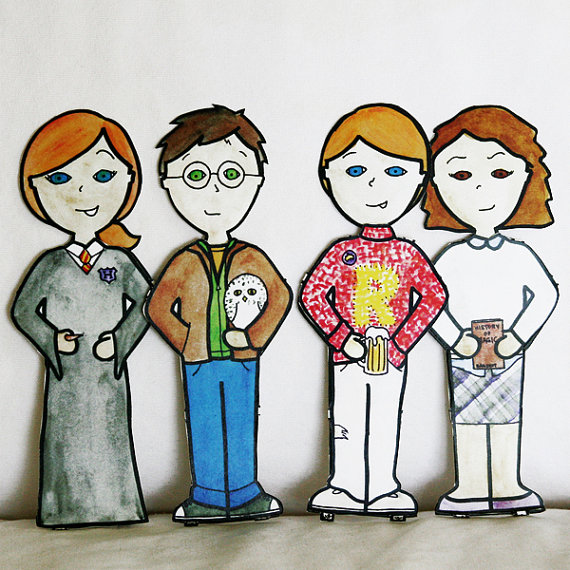 Harry Potter paper dolls from Dignity on Etsy