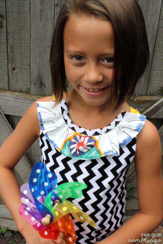 Sunny dress featuring kid art on the ruffle - Rae Gun Ramblings