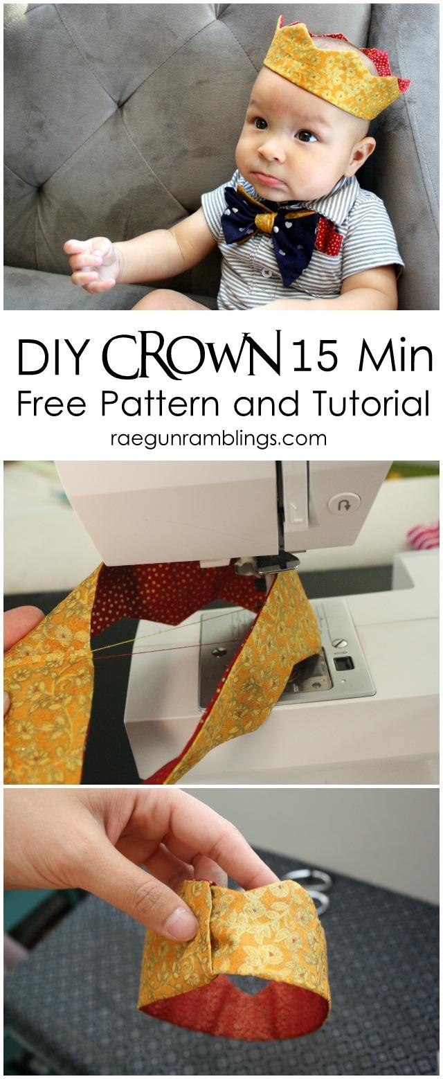 15 minute Fabric Crown Tutorial and FREE pattern (baby to adult) - Rae GUn Ramblings