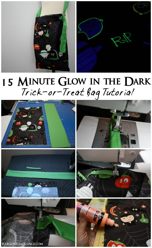 15 Minute Free bag pattern with adjustable strap perfect for trick or treating and how to make it glow in the dark - Rae Gun Ramblings