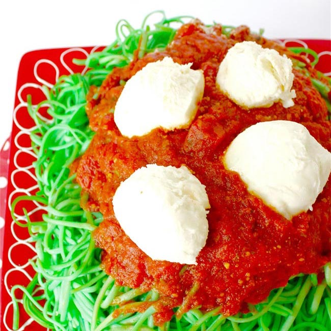 elf pasta and snow ball cheese