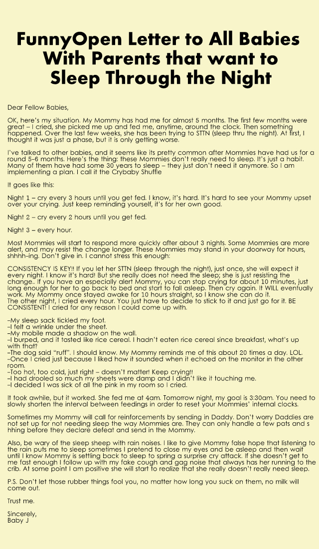 Funny letter from baby about keeping Mom from sleeping through the night