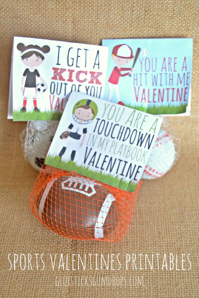 Cute printable for a sports Valentine's Day card