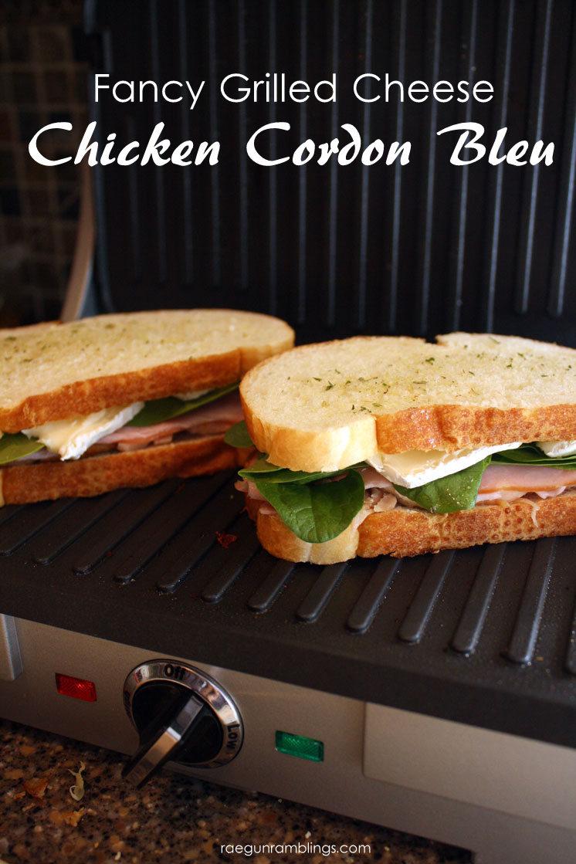 My new favorite grilled cheese recipe. Chicken Cordon Bleu pannini yum