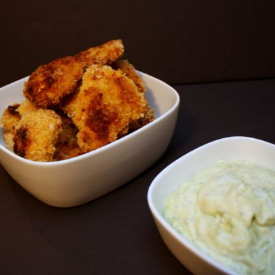 Curry Chicken Fingers with Avocado Ranch Dipping Sauce