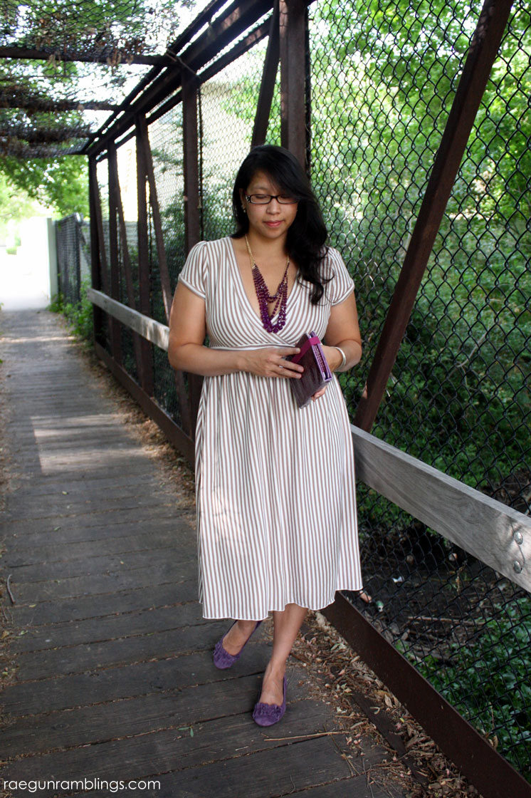 Awesome easy to wear DIY stripe knit dress. Flattering for many body types.