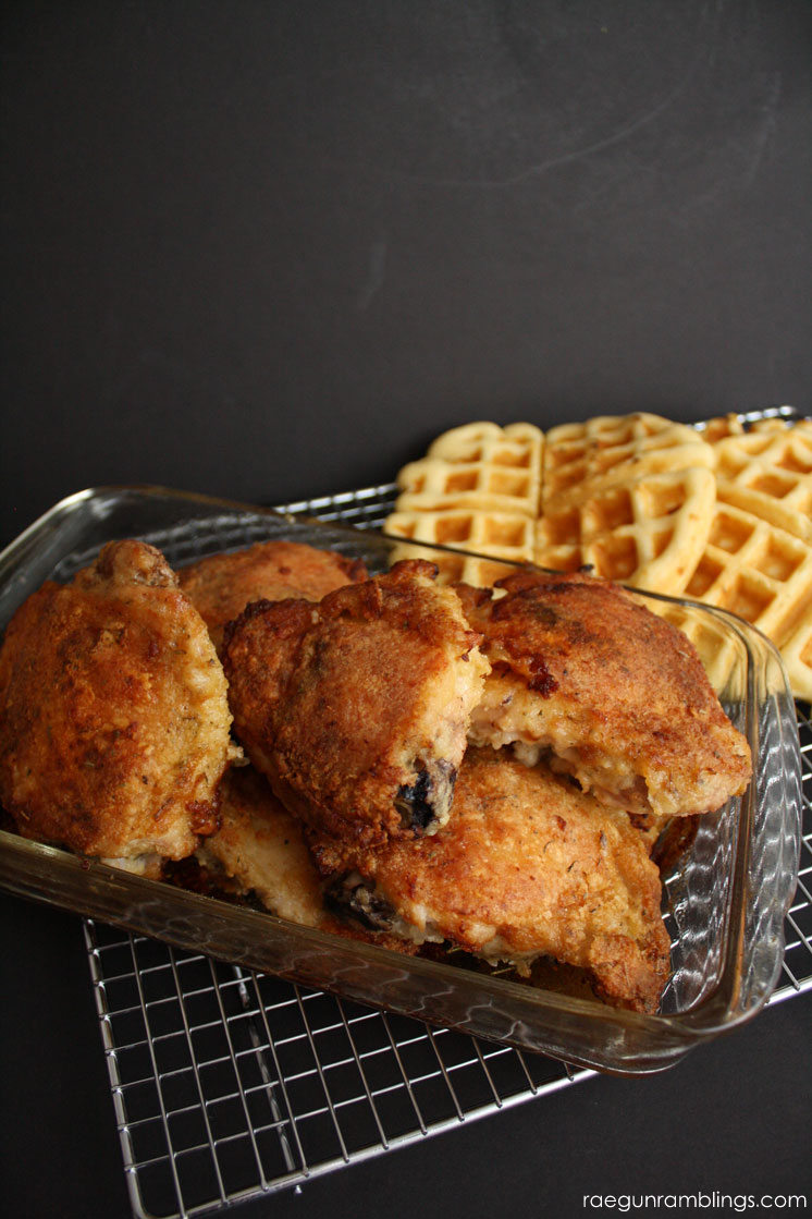 Chicken and waffles with super easy oven fried chicken recipe. SO so good.