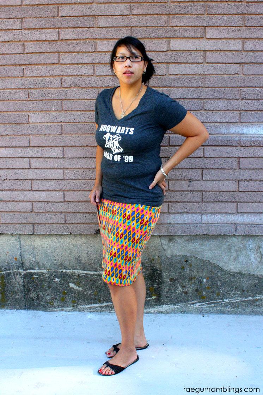 DIY Ikat knit skirt and Harry Potter shirt