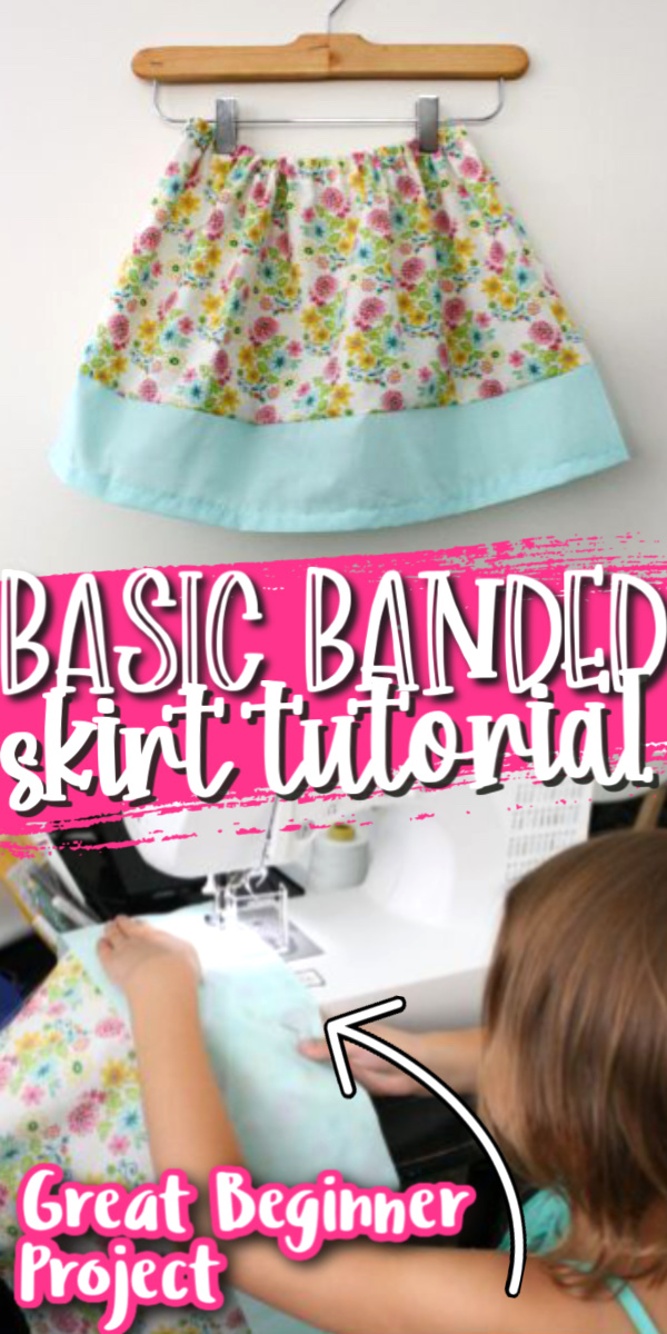 Hands down my favorite beginner sewing project. This simple banded skirt is great for teaching kids (and adults) how to sew and super fast for those who are already comfortable on a machine.