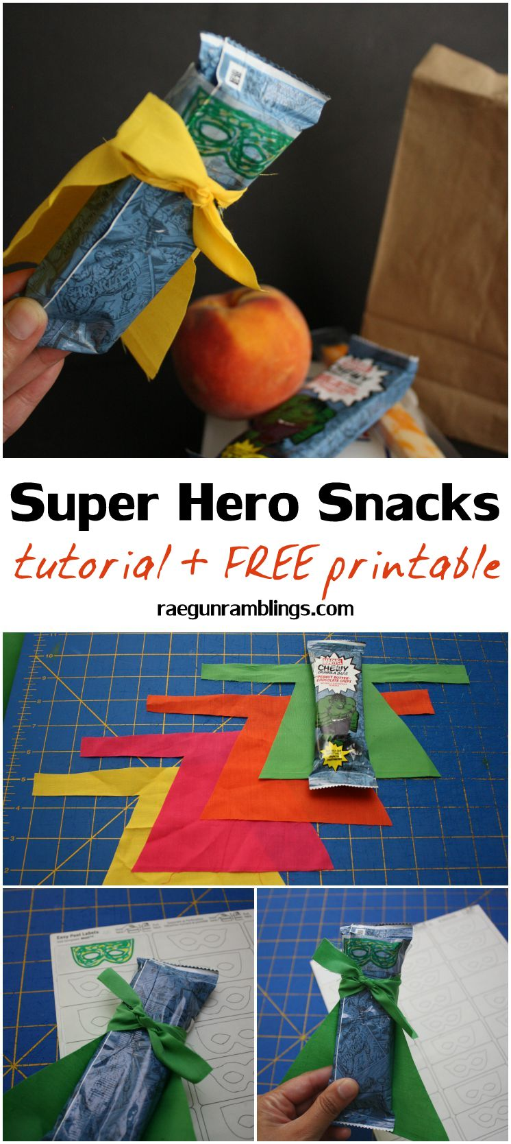 Easiest adorable super hero granola bars. fun kid activity with free printable