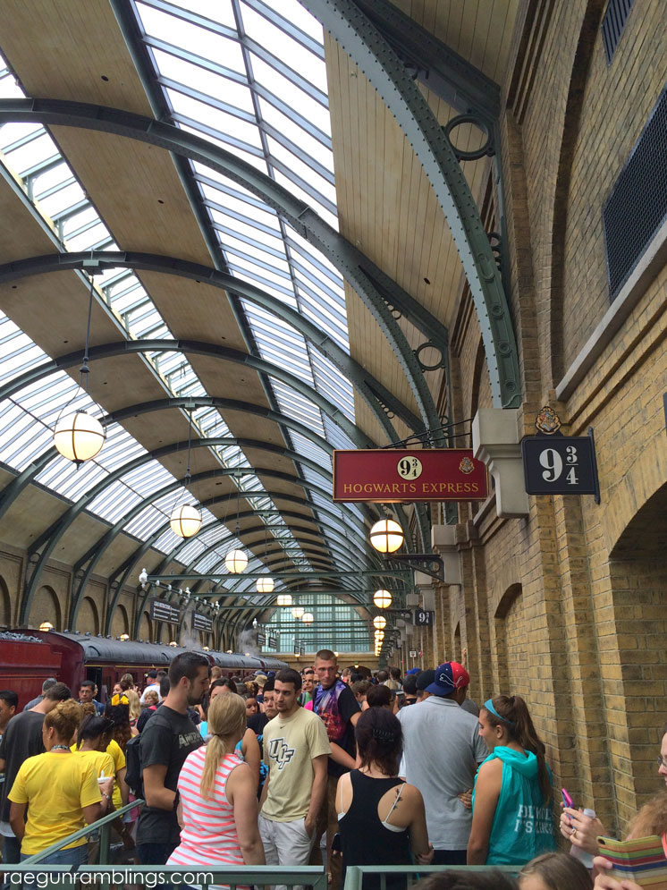 Inside the station for the Hogwart's Express. Platform 9 3/4 at the wizarding world of harry potter