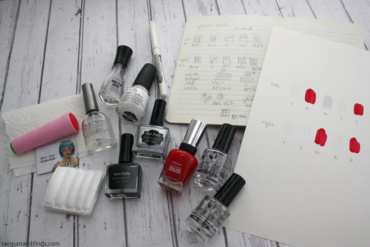 Supplies for DIY Grease lightning nails and full manicure tutorial
