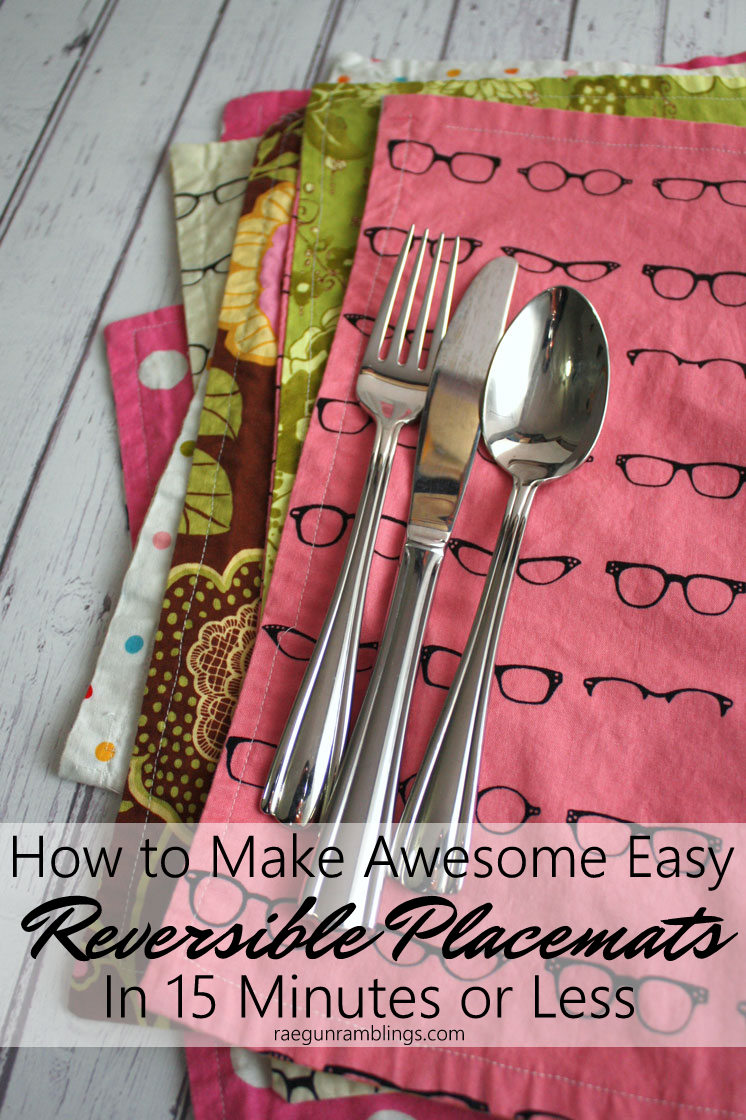 Just used this great sewing tutorial. Perfect for beginners or anyone wanting to sew reversible placemats FAST. Easy great home decor project. Will make more.