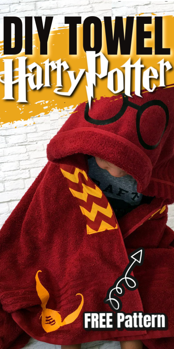 How to make a DIY Harry Potter hooded towel. Easy free tutorial.