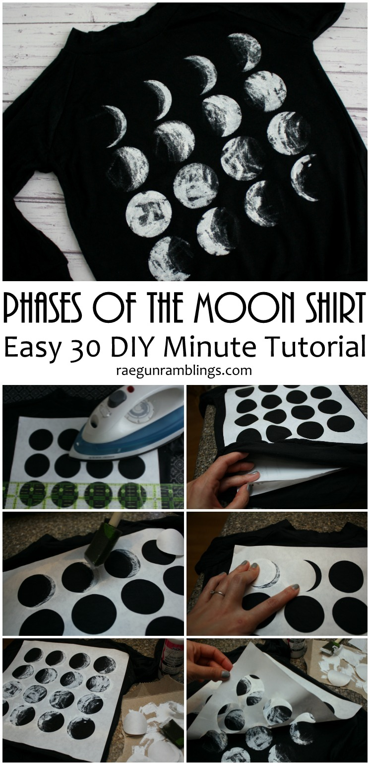 Tried this and it turned out great. Quick and easy DIY phases of the moon shirt tutorial