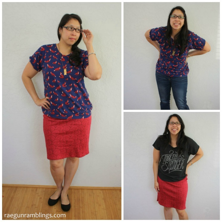 two easy sewing projects. DIY dolman top and fast knit pencil skirt.