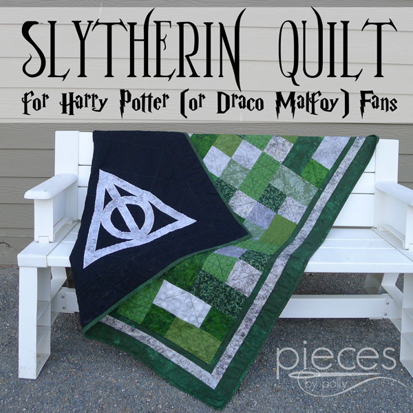 I need to make one of these! Harry Potter inspired Slytherin Quilt Pattern. Sewing and quilting project.