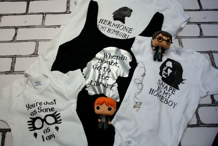 Snape is my homeboy and Hermione Library and Luna shirts. Great Harry Potter tees for the whole family